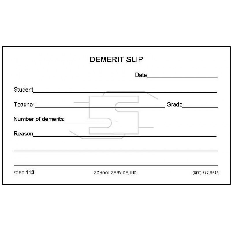 113 - Demerit Slip - Padded Forms