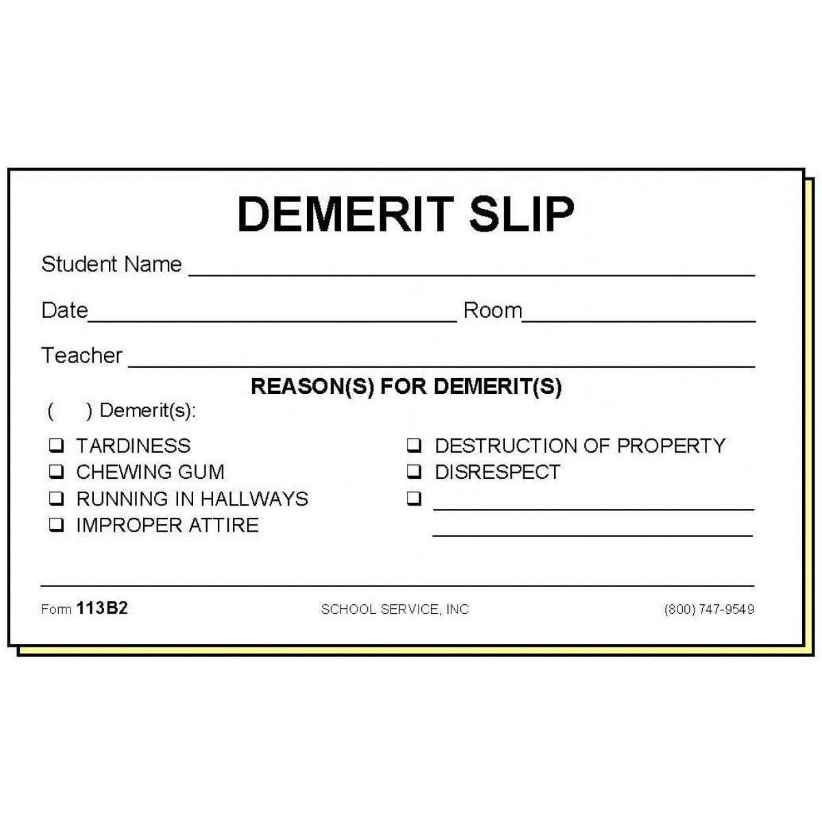 113b2 Two Part Demerit Slip Carbonless Forms