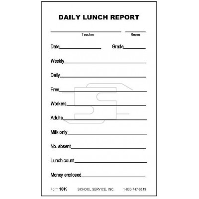 18K - Daily Lunch Report - Padded Forms