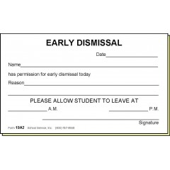 19A2 - Two-Part Early Dismissal Slip