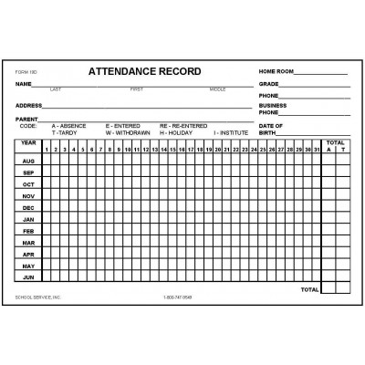 19D - Attendance Record Card - Index Card Forms
