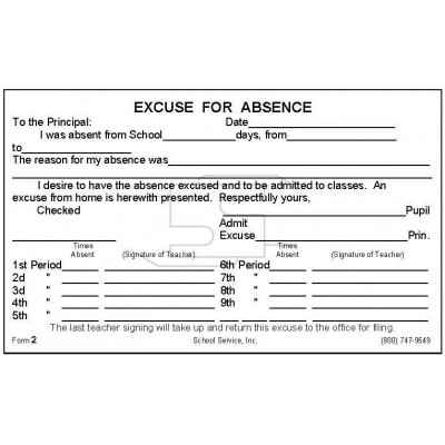 2 - Period Excuse for Absence - Padded Forms