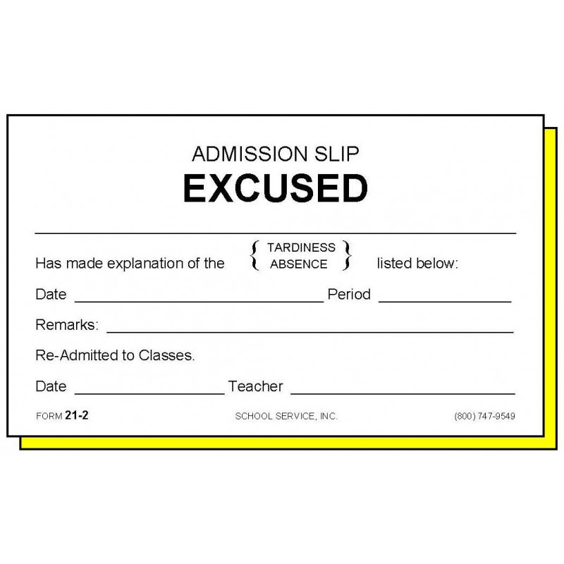 21-2  - Two-Part Admission Slip Excused - Carbonless Forms