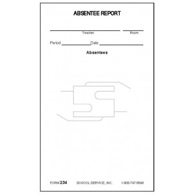 234 - Absentee Report - Padded Forms