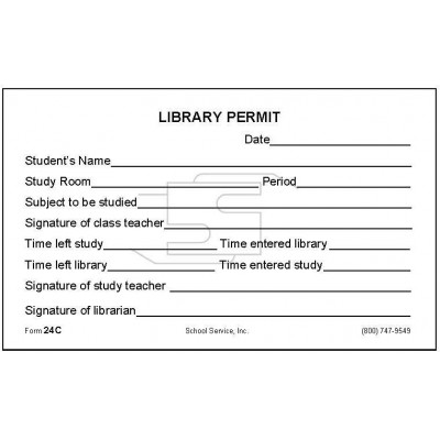 24C - Library Permit - Padded Forms