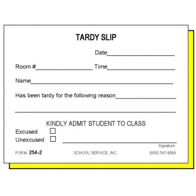 254-2 - Two-Part Tardy Slip - Carbonless Forms