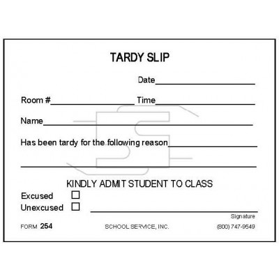 254 - Tardy Slip - Padded Forms