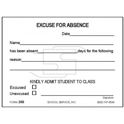 255 - Excuse for Absence - Padded Forms
