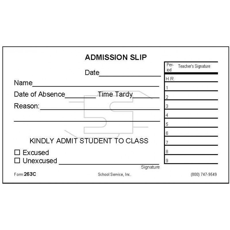 263C - Admission Slip - Padded Forms