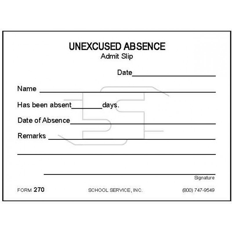 270 - Excused Absence - Padded Forms