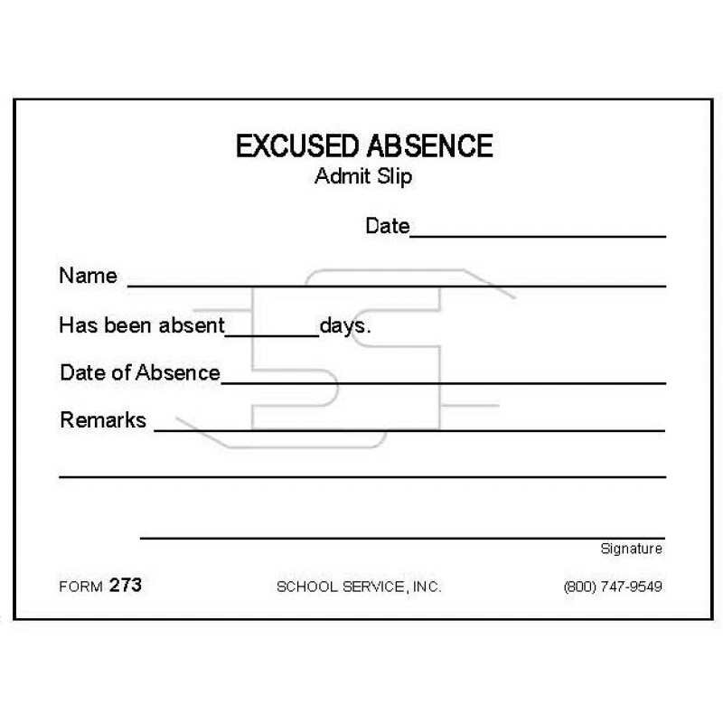 273 - Excused Absence - Padded Forms