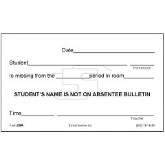 29A - Student Not on Absentee Bulletin