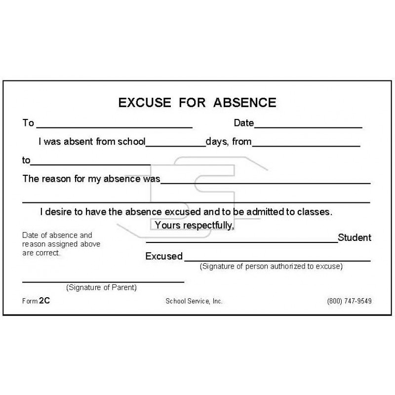 2C - Excuse for Absence - Padded Forms