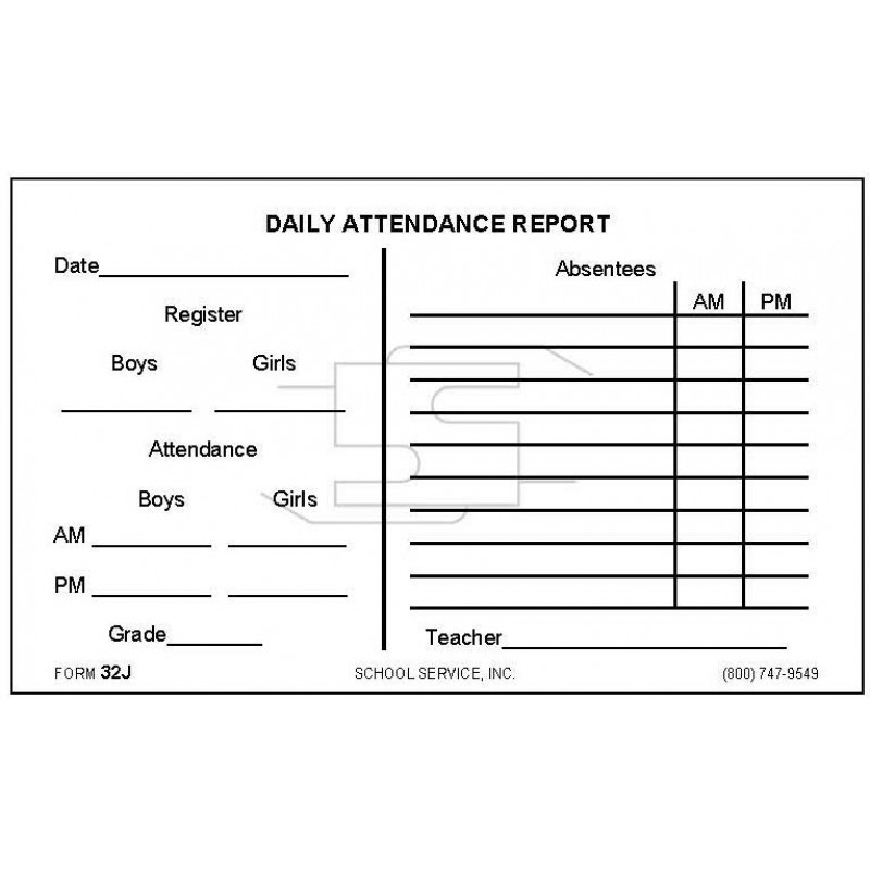 32J - Daily Attendance Report - Padded Forms
