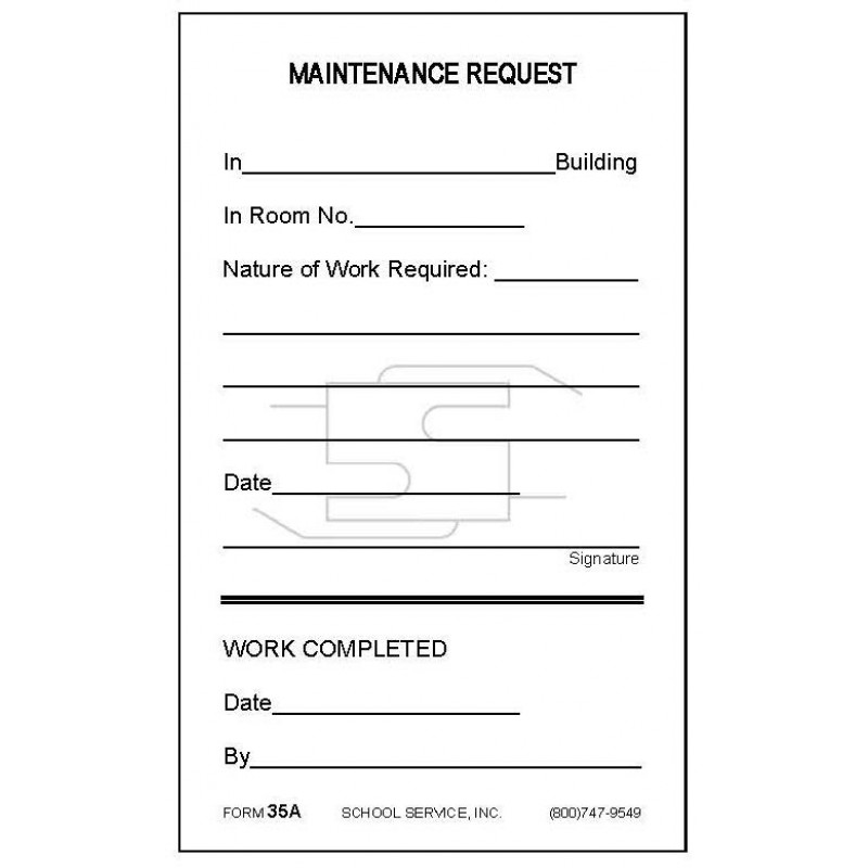 35A - Maintenance Request - Padded Forms