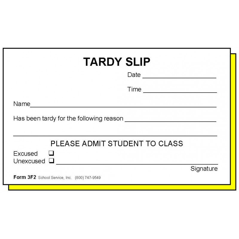3F2 - Two-Part Tardy Slip - Carbonless Forms