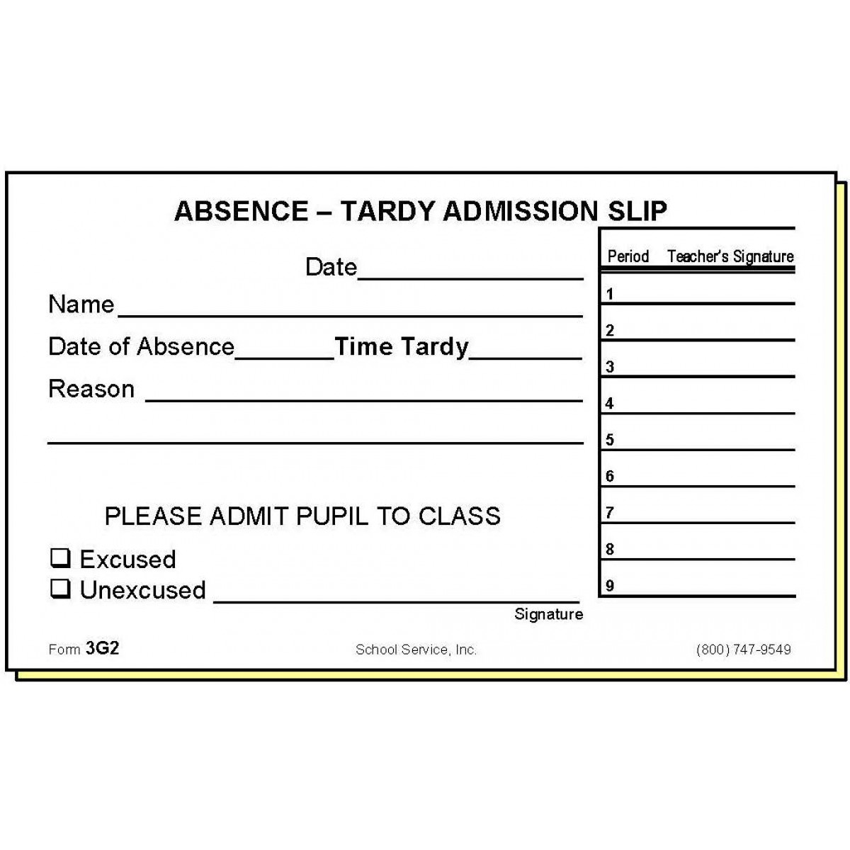 3g2 two part absence tardy admission slip carbonless forms thecheapjerseys Images