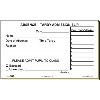 3G2 - Two-Part Absence-Tardy Admission Slip - Carbonless Forms