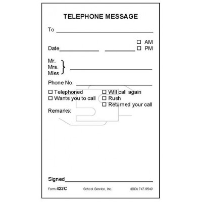 423C - Telephone Message - Padded Forms