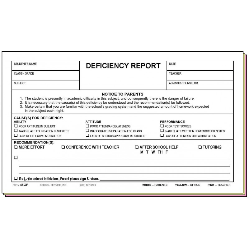 45GP - Deficiency Report w/Parent s Signature - Carbonless Forms