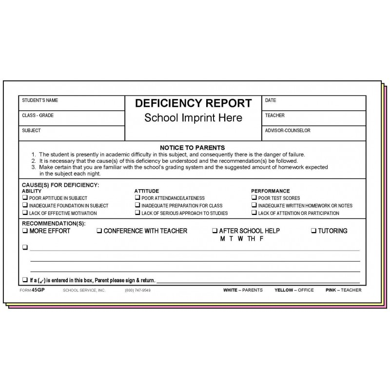 45GP - Deficiency Report (Parent s Signature) w/School Imprint - Carbonless Forms