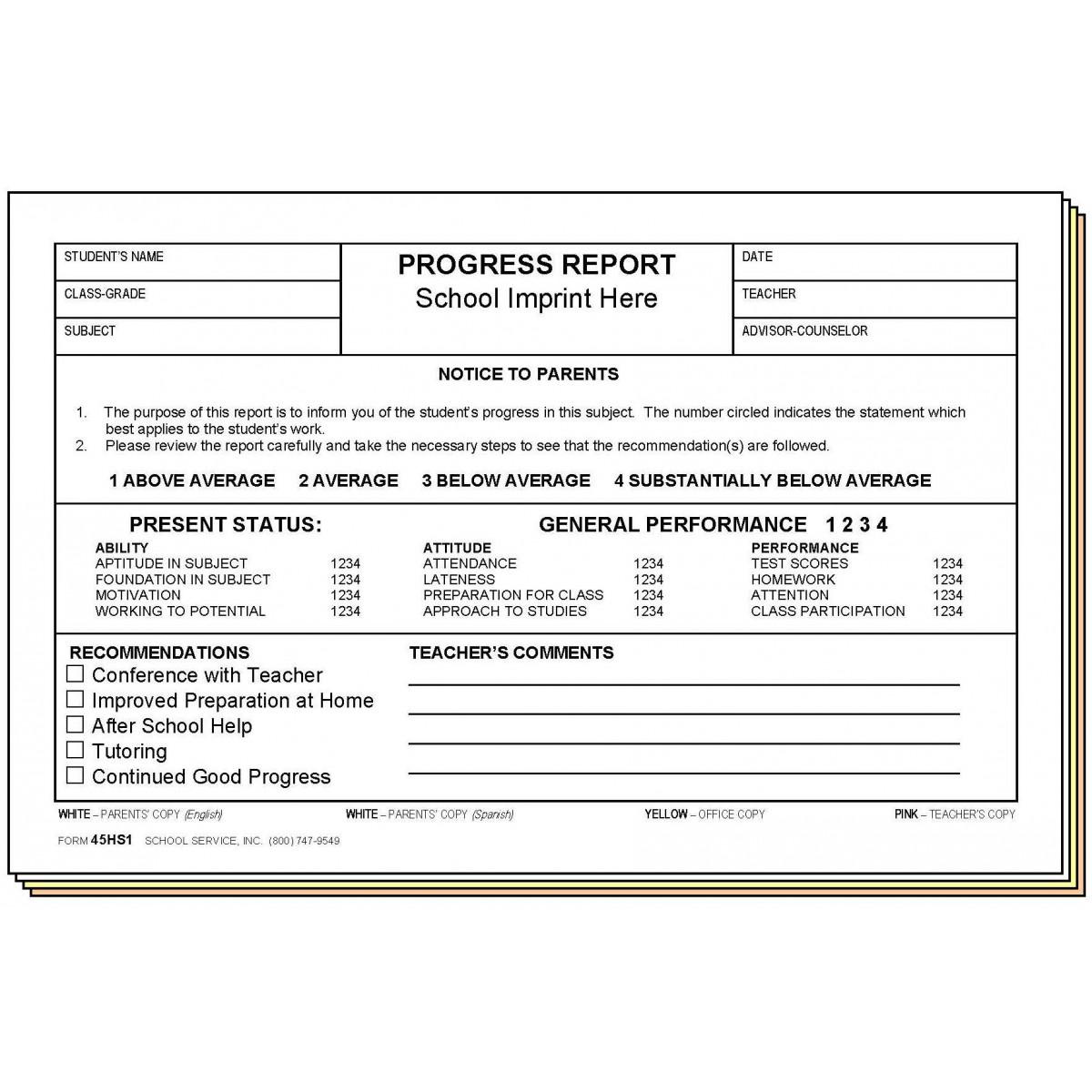 45HS1 - Progress Report - Bilingual - Carbonless Forms