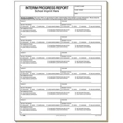 45K - Interim Progress Report w/School Imprint - Carbonless Forms
