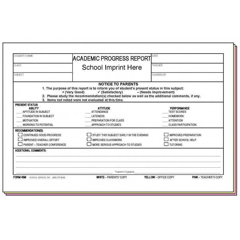 45M - Academic Progress Report w/School Imprint - Carbonless Forms