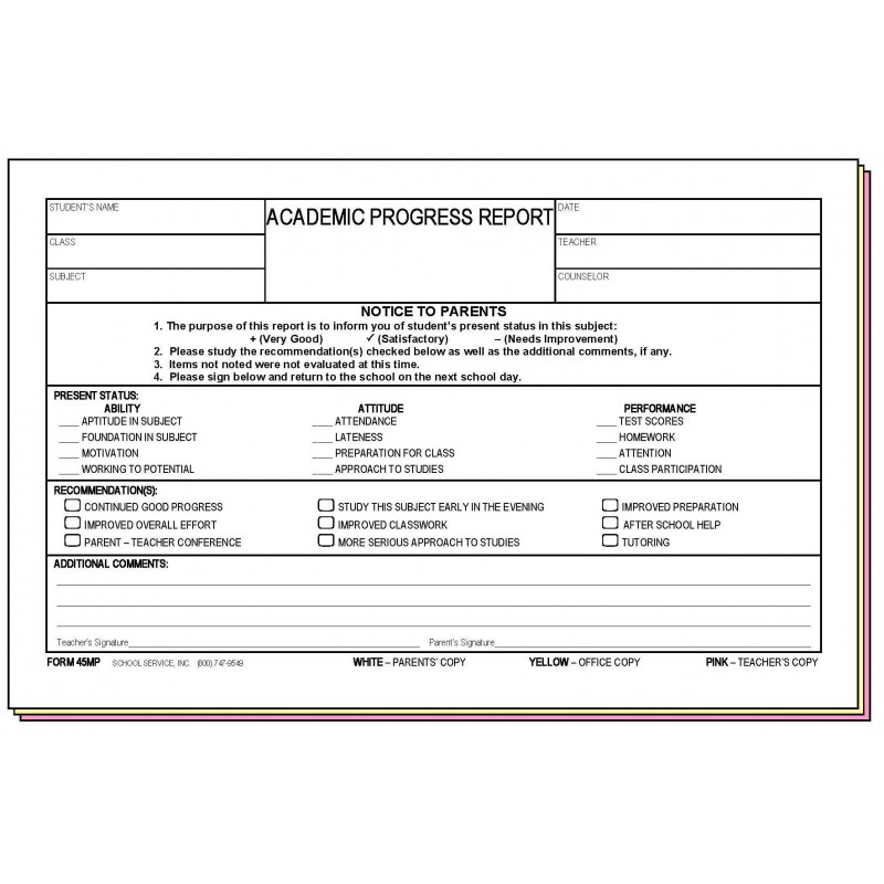 45MP - Academic Progress Report w/Parent s Signature - Carbonless Forms