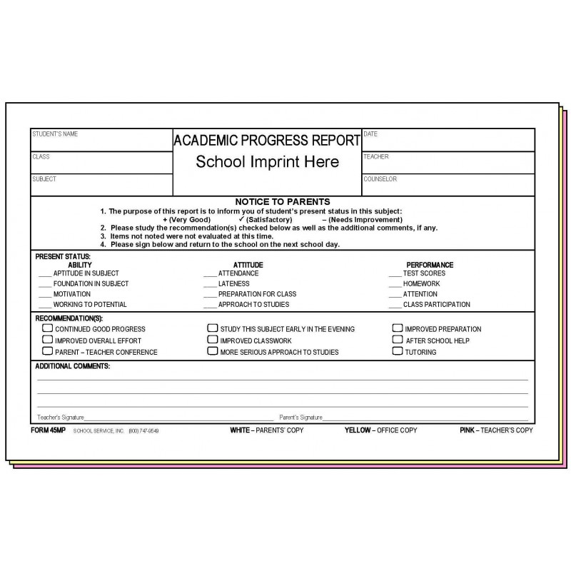 45MP - Academic Progress Report (Parent s Signature) w/School Imprint - Carbonless Forms