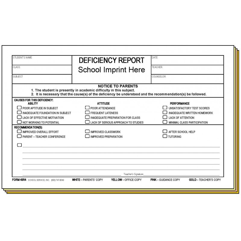 45R4 - Four-Part Deficiency Report w/School Imprint - 4-Part Carbonless Forms