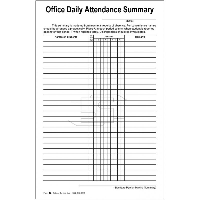 46 - Office Daily Attendance Summary - Padded Forms