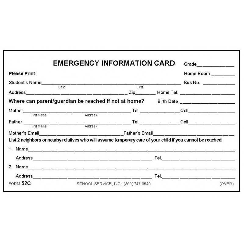 52C - Emergency Information Card - 3 x 5 Size