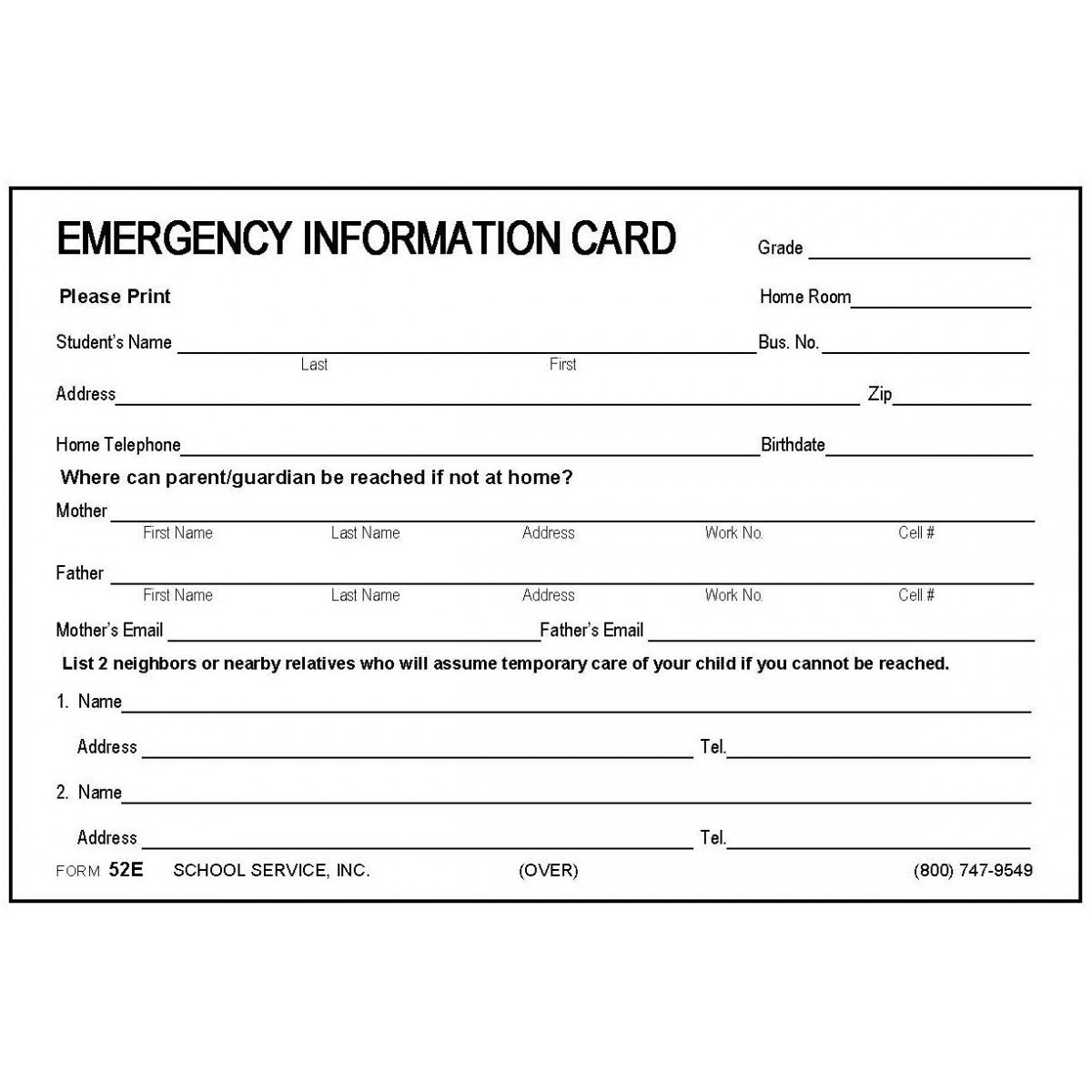 Large Emergency Information Card - 4 x 6 Size