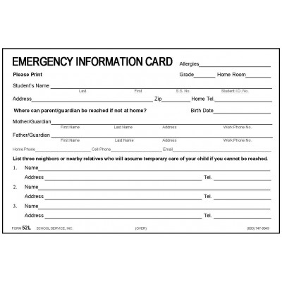 52L - New Large Emergency Card w/Medication - 4 x 6 Size