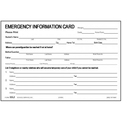 52L2 - New Large Emegency Card w/No Medication - 4 x 6 Size