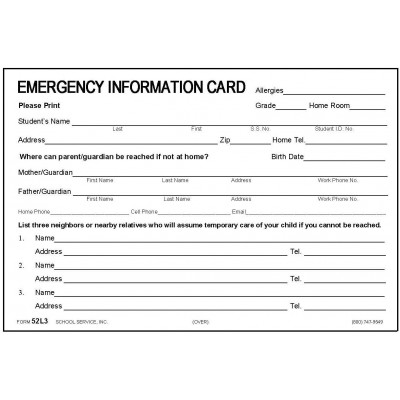52L3 - Large Emergency Card w/Ibuprofen - 4 x 6 Size