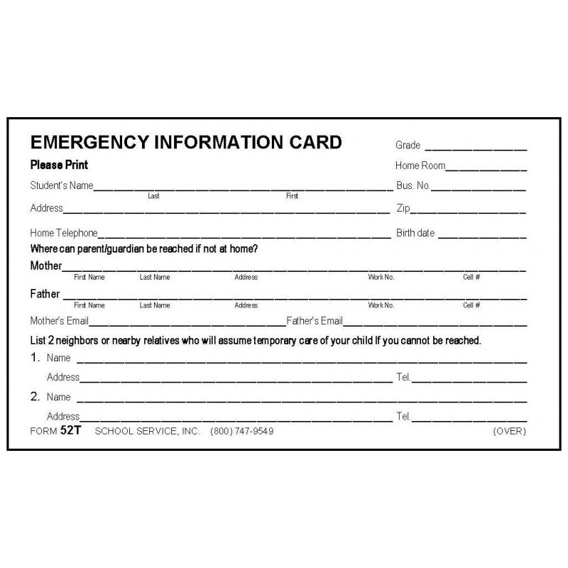 52T - Emergency Card w/Tylenol - 3 x 5 Size