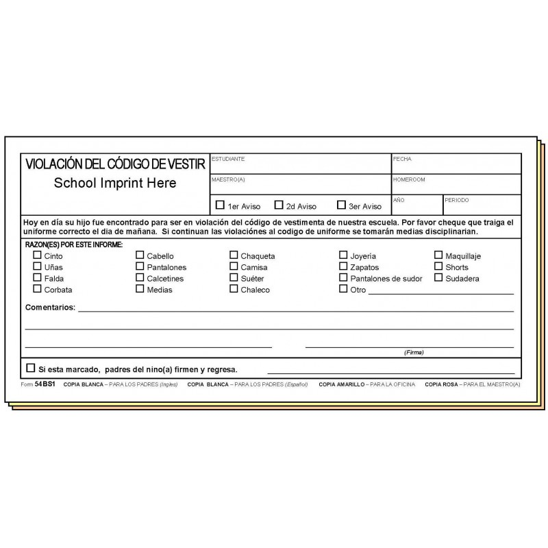 54BS1 - Dress Code Violation - Bilingual - Carbonless Forms