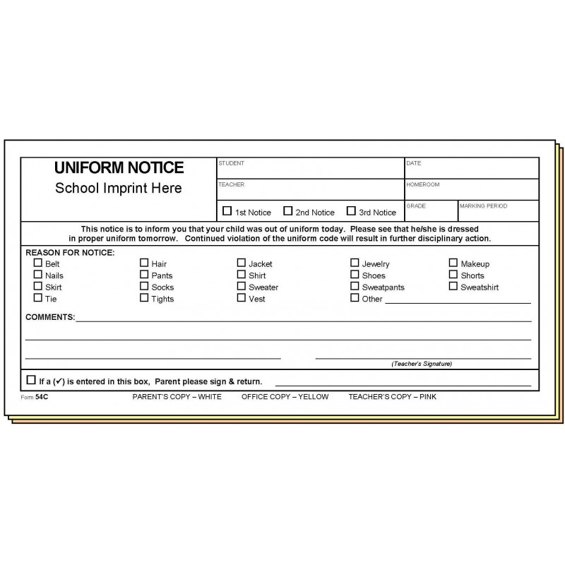 54C - Uniform Notice w/School Imprint - Carbonless Forms