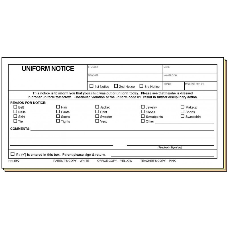 54C - Uniform Notice - Carbonless Forms