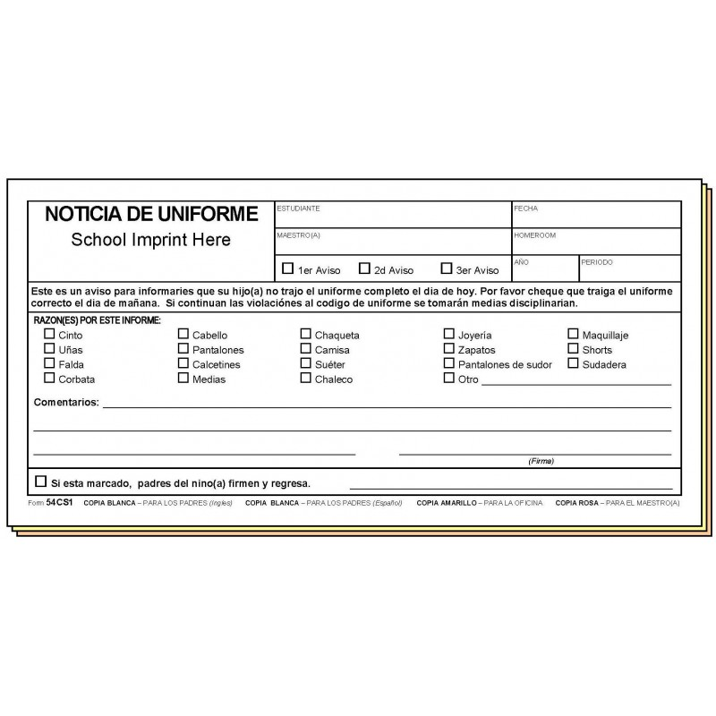 54CS1 - Uniform Notice - Bilingual - Carbonless Forms