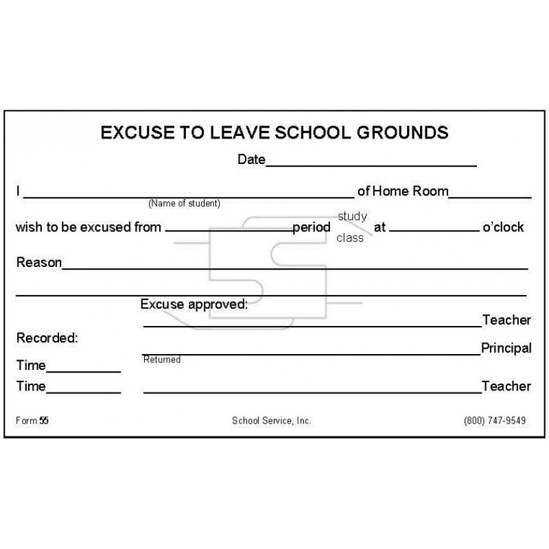 55 - Excuse to Leave School Grounds - Padded Forms