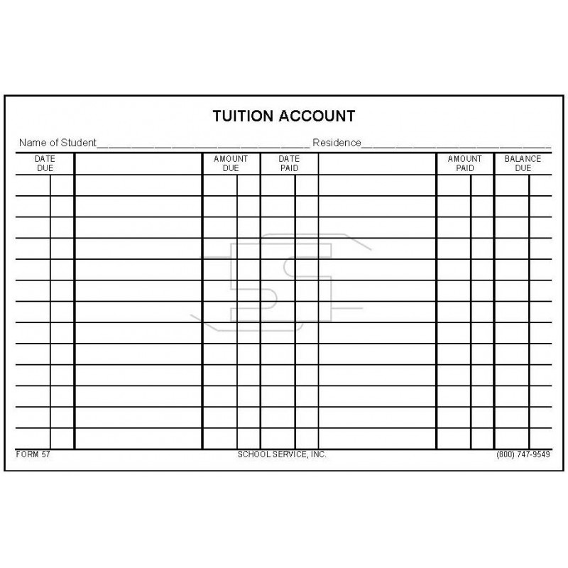 57 - Tuition Account Card - Index Card Forms