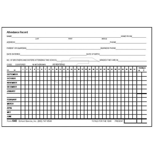 Attendance Record Card - Index Card Forms