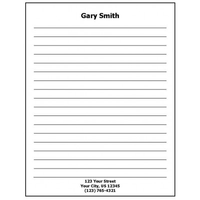 68J - Lined Paper Personalized Note Pad w/Name & Address - Padded Forms