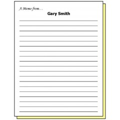 68M2 - Two-Part Lined Paper A Memo from Personalized Note Pad