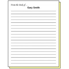 68W2 - Two-Part Lined Paper From the Desk of Personalized Note Pad