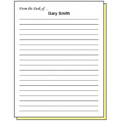 68W2 - Two-Part Lined Paper From the Desk of Personalized Note Pad - Carbonless Forms