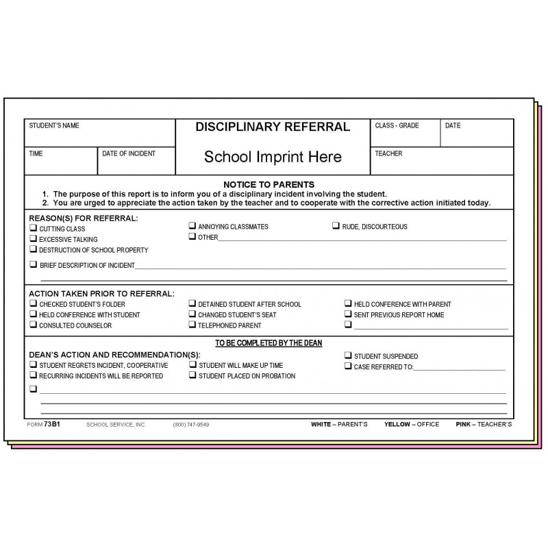 73B1 - Disciplinary Referral w/School Imprint - Carbonless Forms
